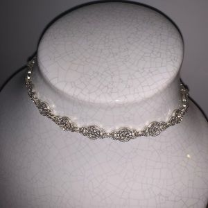Faux diamond choker necklace
